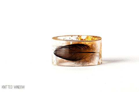 Black Feather with 24K Gold Ring