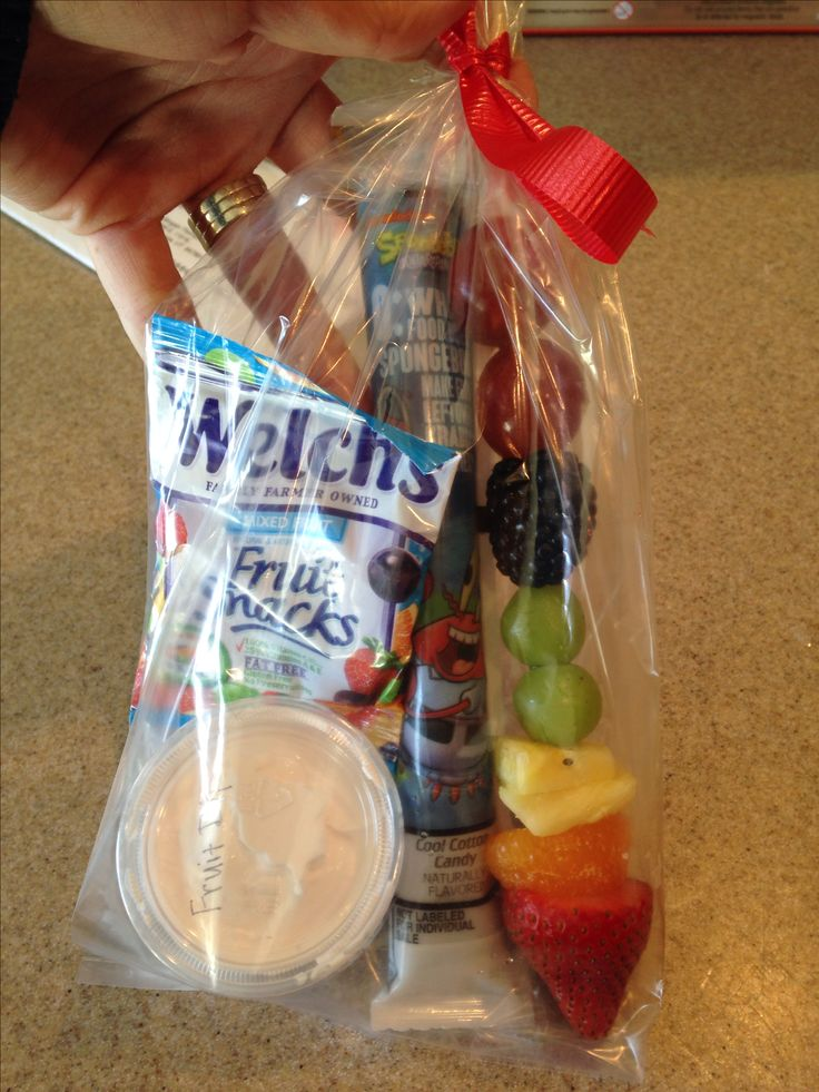Healthy after game snack for my sons team. Fruit kabob, fruit dip, go-gurt, fruit snacks.