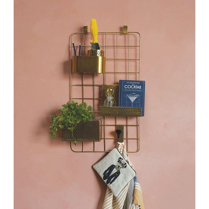 Au Maison - Dekoration/Opbevaringstavle - Guld - gitter - kurve - ophæng - planteholderen - plantekasser - køkken - soveværelse - stue - indretning - idéer - inspiration