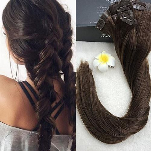 8 Pcs Chocolate Brown Full Head Clip in Hair Extensions Real Hair – Full Shine www.fullshine.net  WhatsApp: 008613287879561