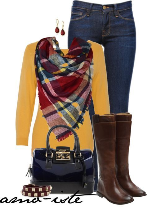 Yellow pullover, jeans, plaid blanket scarf