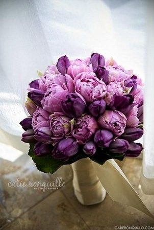 Purple tulips and peonies bouquet