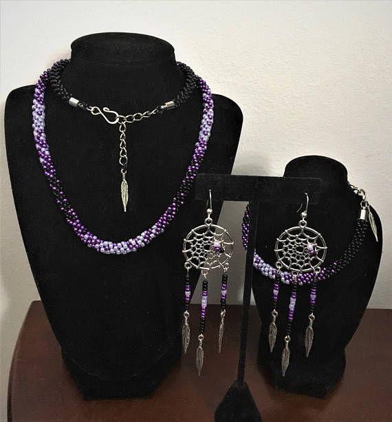 Purple Haze Handmade Beaded Jewelry Set