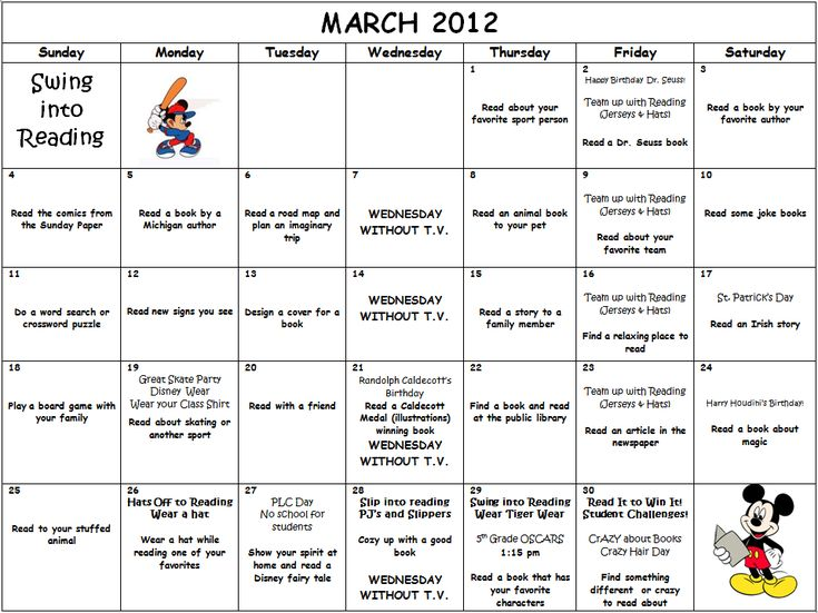 March Calendar Ideas : Best images about i love to read month ideas on