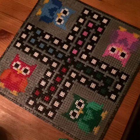 Owl ludo board game hama beads by bitabetta