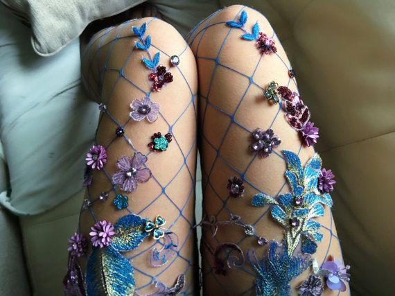 Irises Handmade Fishnet Tights by LirikasByLirika on Etsy