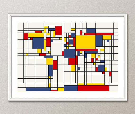 Map of the World Map in the style of Piet Mondrian, Art Print 18x24 inch {etsy, artPause} 24.35 USD