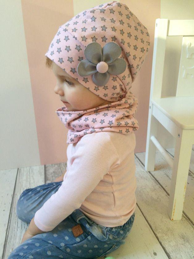 Mützen - Französische Beanie Sterne Grau & Rosa - Ök... - ein Designerstück von MrsSchingalong bei DaWanda