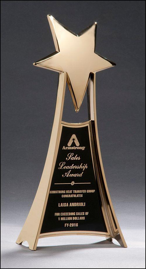 Metal Star Trophy In Gold Finish-Trophy-Schoppy's Since 1921