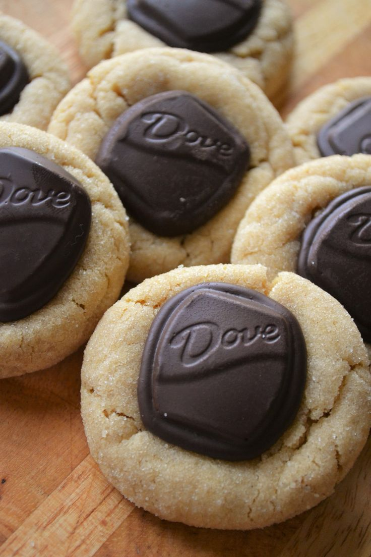 Soft and sweet peanut butter cookies with delicious dark chocolate candies pressed on top.