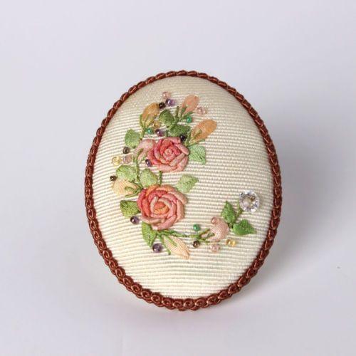 Handicraft Antique Unique Silk Ribbon Embroidery Brooch Pin Rose Design