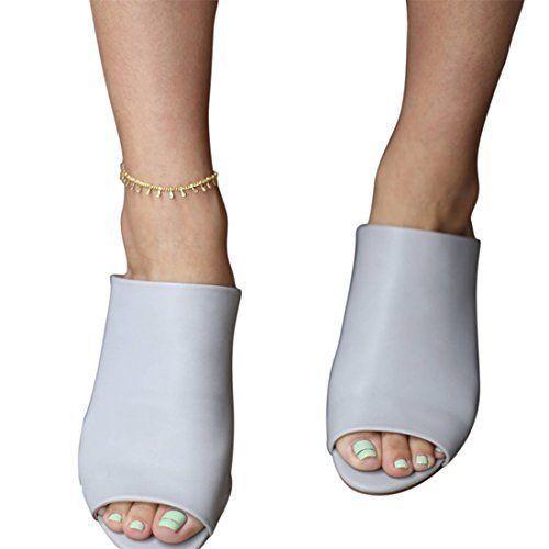 Women 14K Gold Chain Anklet Bracelet Beach Jewelry Sandal Ankle Gold Tone Boho #Fettero