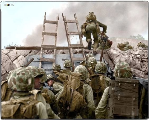 "**** Inchon Landing Operation(Chromite Operaation) on Sept.15,1950,Korean War.**** Photo--- A Hero of Inchon Landing, ""Battle of Inchon"", Korean War.* First Lt. Baldomero Lopez, 3rd Platoon leader,3rd Company A, 5th. Reg,1st Div, USMC, the 1st runner of landing,Red beach,immediately killed in action, Battle of Inchon (Chromite Operation) on 15,Sept, 1950. Note-- The ladders are used doe to high tide of Sea of Inchon. I am the eyewitness of ""Battle of Shinchon""(Smith Ridge Battle"" near my…"