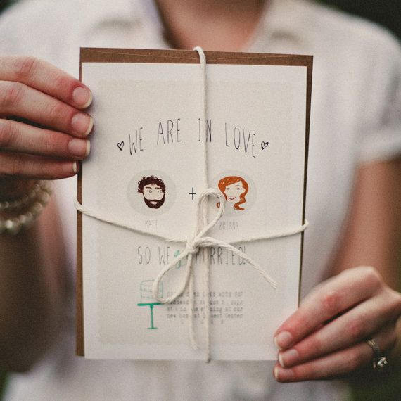 Indie Style Illustrated Elopement Announcement