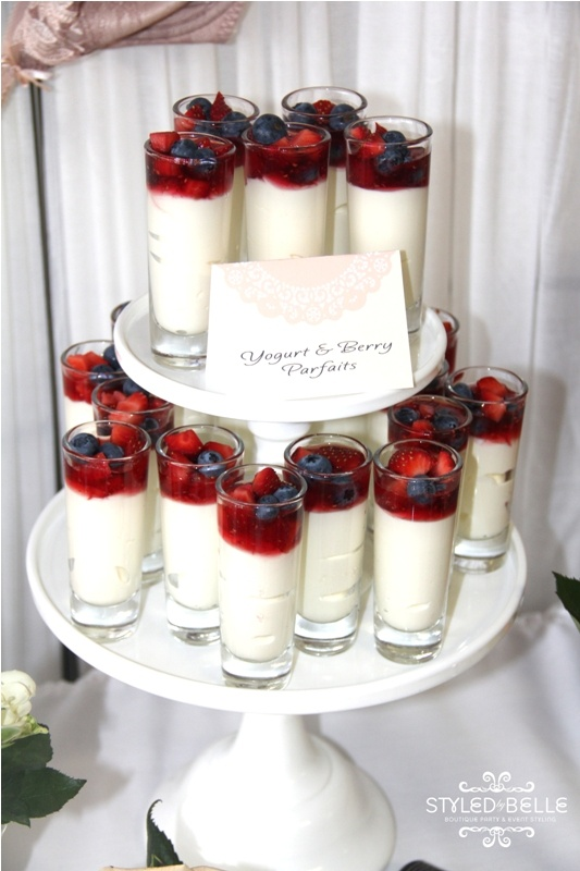 Yoghurt & berry parfait -  love the glasses