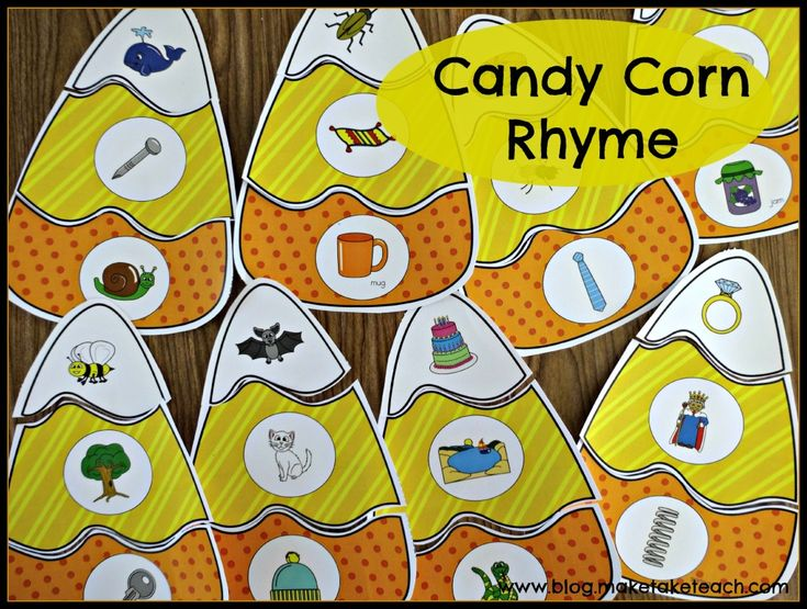 Candy corn activity for practicing rhyme.  16 colorful candy corns with rhyming pictures. Great for centers.