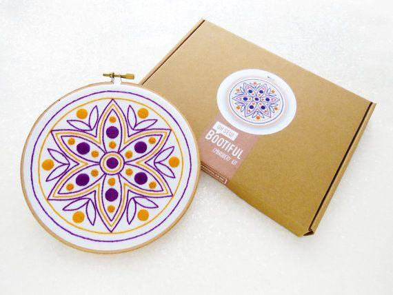Mandala Embroidery Kit, Diwali Gift For Her, Rangoli Needlework Kit, Geometric Flower Hoop Art Kit, Gift For Mum, DIY Diwali Decoration Kit