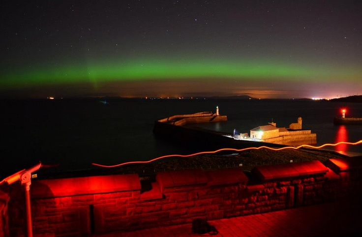 Aurora over the Solway Firth from Whitehaven, the Western Lake District.