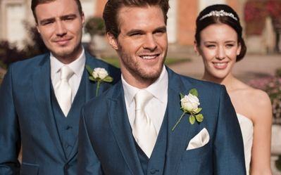 Our royal blue mohair lounge suit, Westbury. #peterposh #wedding #groom #weddingsuits #bluesuit #bowtie #groomsmen