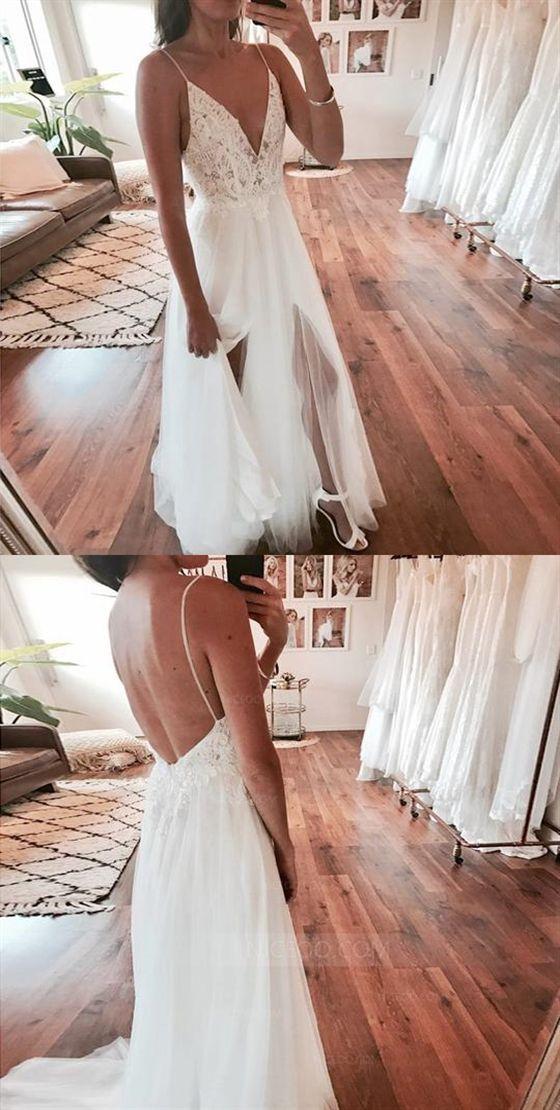 Spaghetti Strap V-Ausschnitt Open Back Side Split Lange Tüll Brautkleider Braut… – Kleid