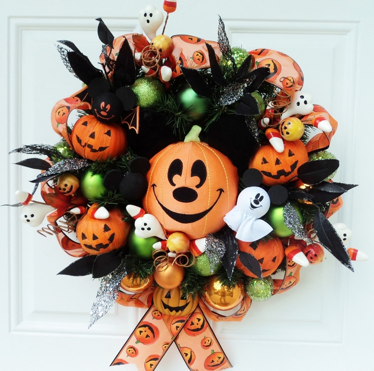 Halloween Wreath Mickey Mouse Pumpkin by SparkleForYourCastle, $69.00