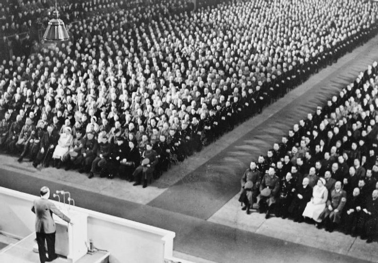 Hitler addressing a party meeting in the Berlin Sports Palace.