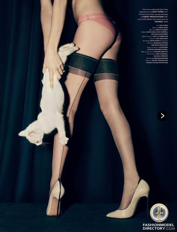 """Cara Delevingne featured in the LOVE editorial """"Cat"""" from February 2013 , showing Agent Provocateur , Casadei"""