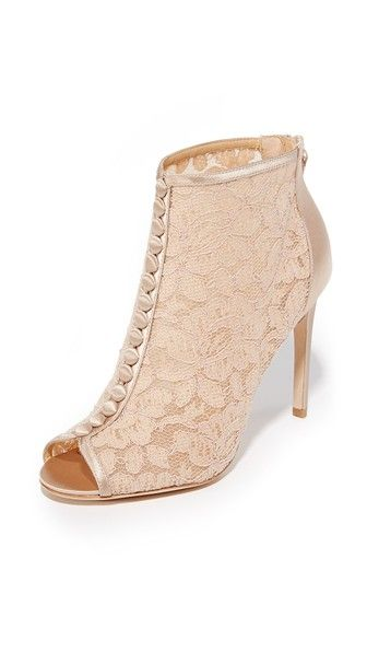 Badgley Mischka Nerina Lace Open Toe Booties