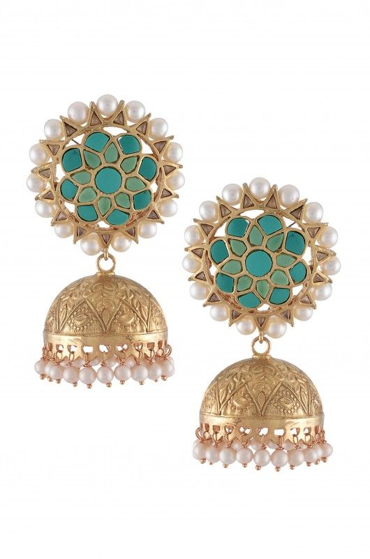 Silver Floral Turquoise Jhumkis / Amrapali