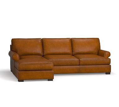 Townsend Roll Arm Leather Right Chaise Sofa Sectional, Polyester Wrapped Cushions, Leather Burnished Bourbon