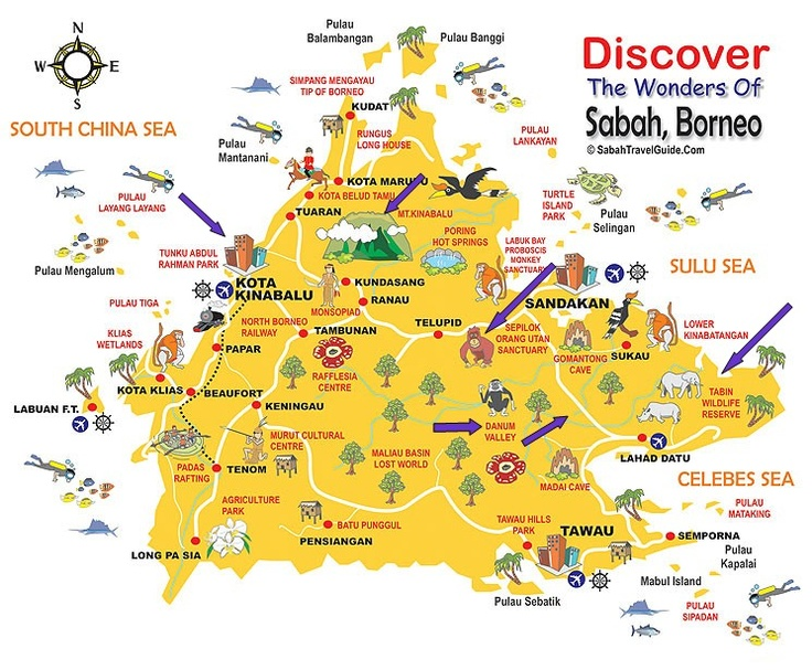 Borneo Map. Blue arrows are places we went. #travel #Borneo #Sabah #Malaysia