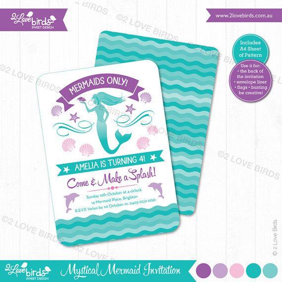 Mermaid Printable Invitation by 2LoveBirdsDesign on Etsy