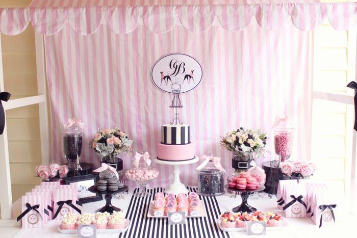 french partyParisians Parties, Paris Parts, Birthday Parties, Paris Theme, Bridal Shower, French Parties, Parties Ideas, Desserts Tables, Parisians Poodles