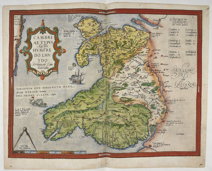 Lord Burghley's Atlas - caption: 'Coloured printed map of Wales and Anglesey' | by The British Library