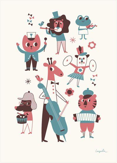 Musikposter graphic animals | design: Ingela P Arrhenius