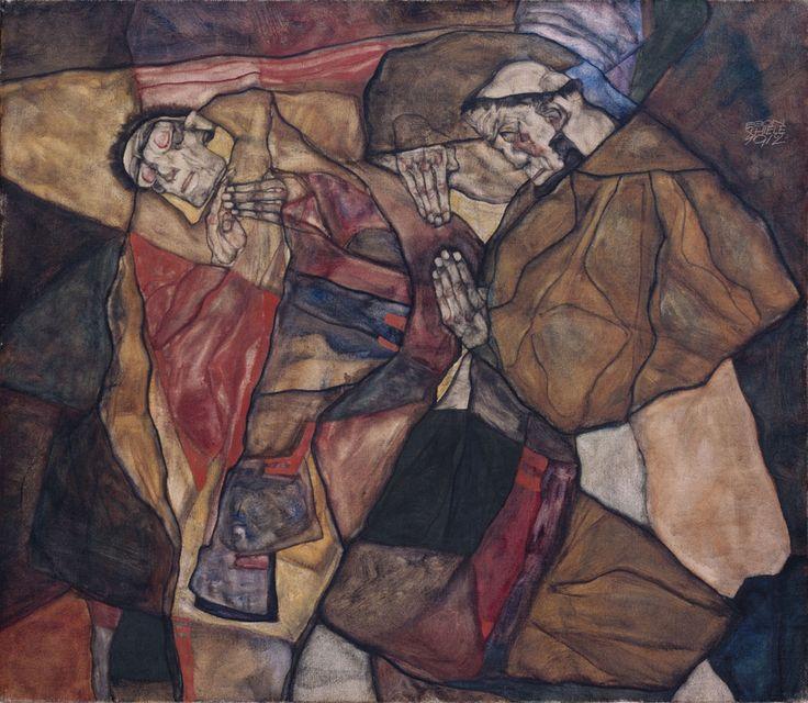 Egon Schiele Agonie 1912 Öl auf Leinwand 70,0 x 80,0 cm, Neue Pinakothek München