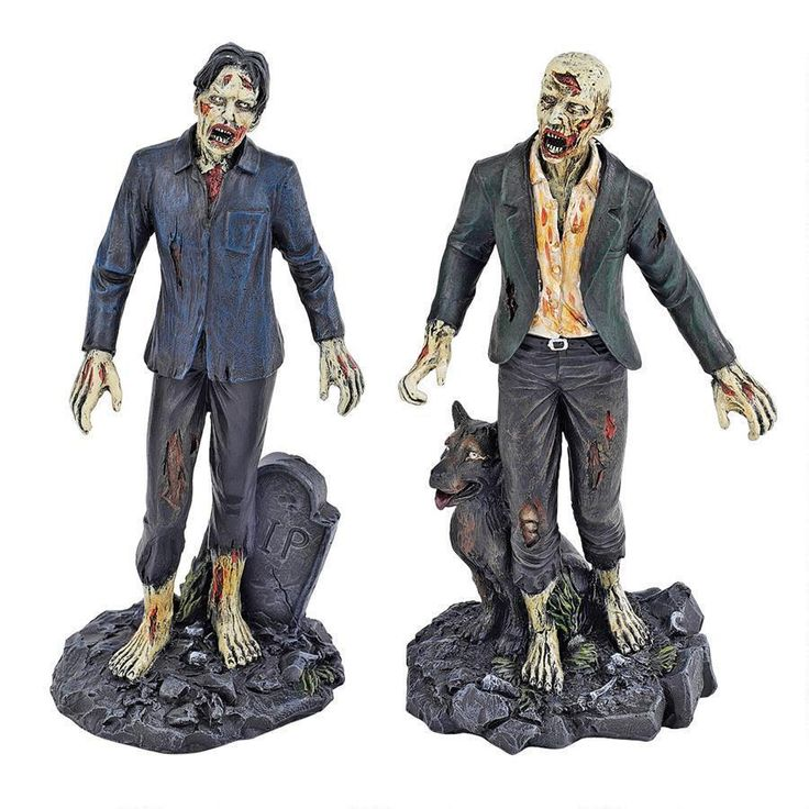 Design Toscano Hand Painted Dead Walking Zombie With Tombstone Zombie With Wolf #DesignToscano