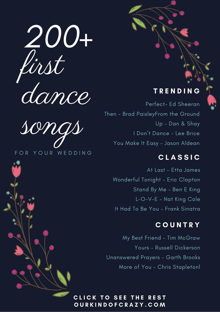 First Dance Song Top First Dance Songs For Your Wedding Ourkindofcrazy In 2020 First Dance Wedding Songs First Dance Songs Best First Dance Songs