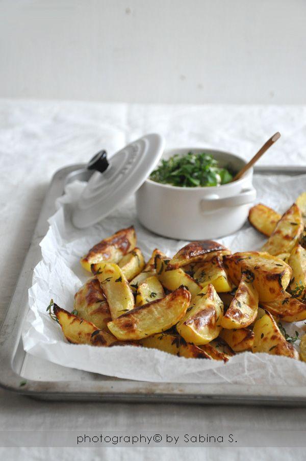 Due bionde in cucina: Patate al forno con salsina alle erbe