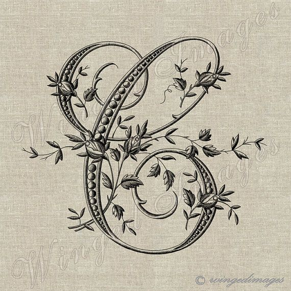 Antique+French+Monogram+Letter+C+Instant+Download+by+WingedImages,+$1.00