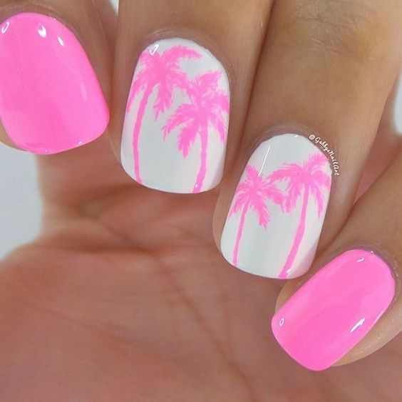 Summer pink nail art designs & ideas 2016