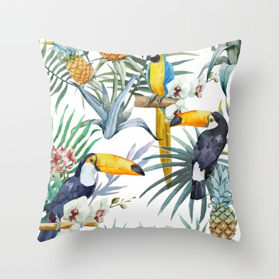 Cool Tropical pattern.  Throw Pillow made from 100% spun polyester poplin fabric, a stylish statement that will liven up any room. Individually cut and sewn by hand, each pillow features a double-sided print and is finished with a concealed zipper for ease of care.  Sold with or without faux down pillow insert.
