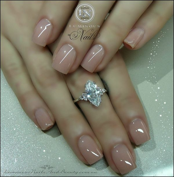 Acrylic overlay on short nails ~ the shape is perfect. I like the color too.