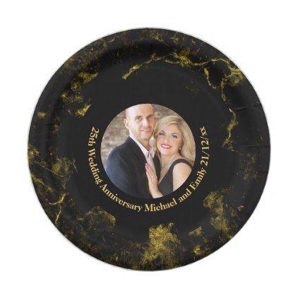 PHOTO Wedding Anniversary Paper Plate Black Gold - anniversary cyo diy gift idea presents party celebration