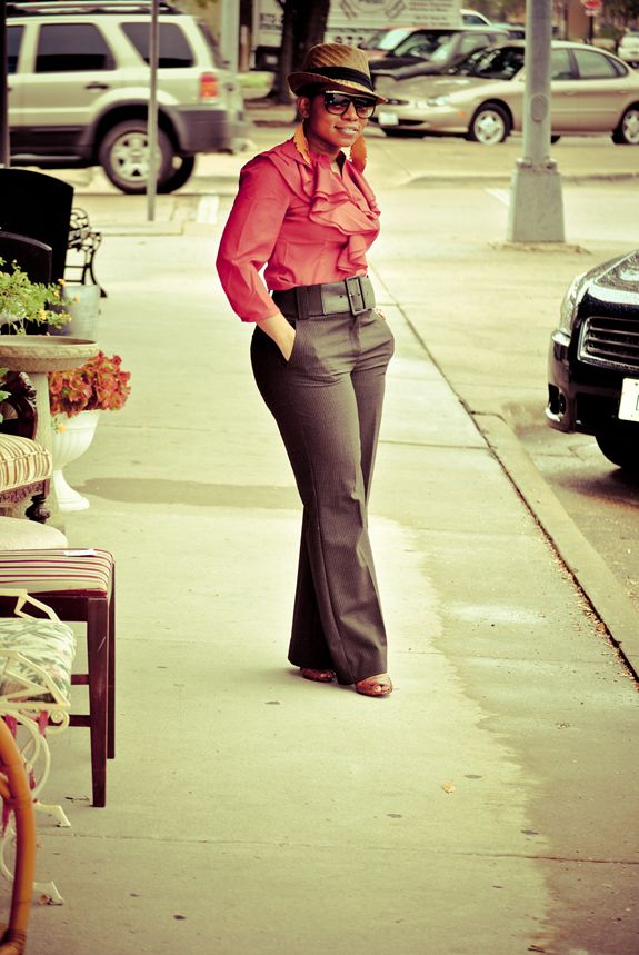 From Fashion Bomb Daily>>love the ruffled shirt and the wide belt on the pants.