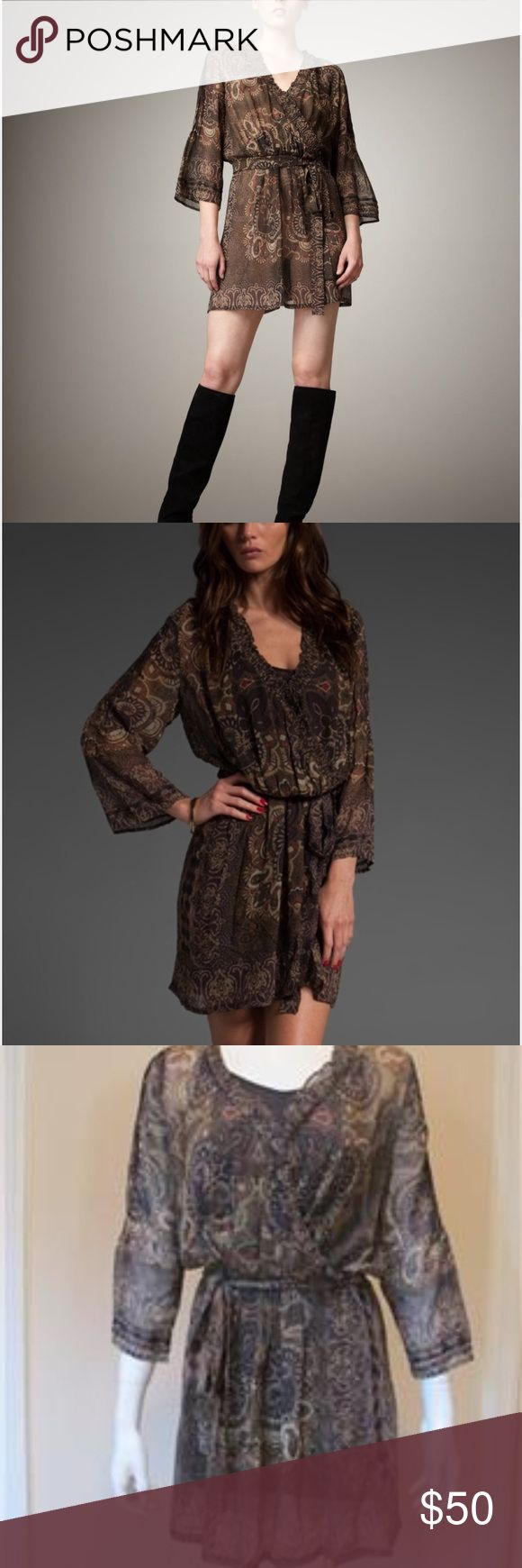 Joie Paisley Print Brown Sarika Dress Brown Paisley Joie Dress, super cute and very flattering! Perfect with boots or wear to work with flats. Worn 3x and dry cleaned once. Comes with brown cotton slip. Great condition! Joie Dresses Long Sleeve