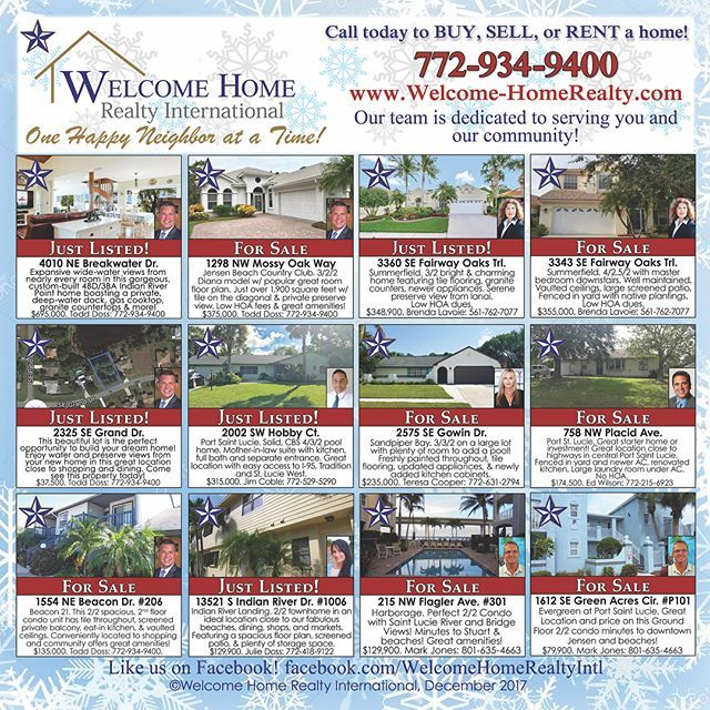 Zoom in and check out or #ad from yesterday's #newspaper!! #welcomehomerealtyintl #whrintl #bluestar #tcpalm #buysellrent #realestate #jensenbeach #stuart #fl #florida #homes #houses #zillow #trulia #hotpads #mls #realtor #realtorlife #like #follow #localrealtors - posted by Welcome Home Realty Int'l 🏡 https://www.instagram.com/whrintl - See more Real Estate photos from Local Realtors at https://LocalRealtors.com