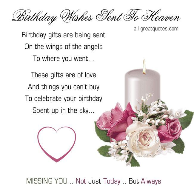 Birthday Wishes Sent To Heaven .. Birthday gifts are being sent, on the wings of the angels to where you went... These gifts are of love and things you ...