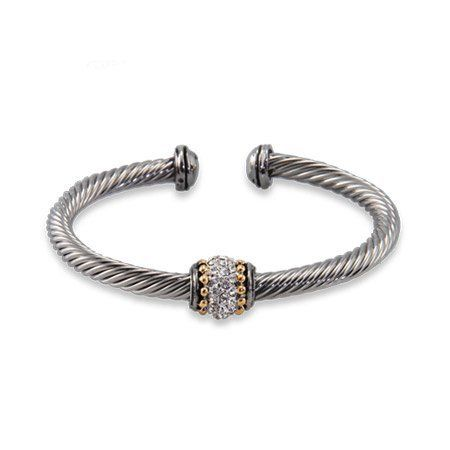 Cable Cuff Bracelet with Pave CZ Detail Eve's Addiction. $36.00. Approximate Weight: 22.2 grams. TCW: 1.25 TCW