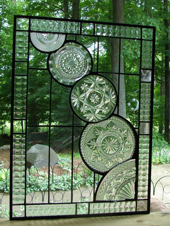 Crystal Cascade stained glass panel window by Barbarasstainedglass